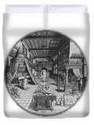 Alchemists Laboratory, 1595 Duvet Cover by Science Source