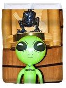 Alien In The Corner Booth Duvet Cover