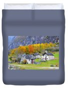 Alpine Village In Autumn Duvet Cover