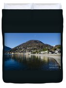 Alpine Village Reflected In The Lake Duvet Cover