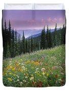 Alpine Wildflower Meadow, Mount Duvet Cover