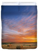 Amazing Sunset Over Pasture Duvet Cover