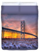 Ambassador Bridge Sunrise 1-16-2012  Detroit Mi Duvet Cover