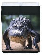 American Alligator Walking On A Trail Duvet Cover