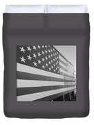American Flag At Nathan's In Black And White Duvet Cover