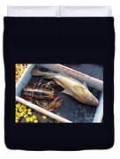 American Lobster And Cod Caught Off Chatham On Cape Cod Duvet Cover