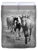 American Quarter Horse Herd In Black And White Duvet Cover