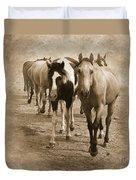 American Quarter Horse Herd In Sepia Duvet Cover