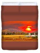 Amish Farm Sundown Duvet Cover by Randall Branham