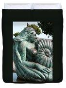Ammonite Statue Duvet Cover