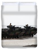 Amphibious Assault Vehicles Land Ashore Duvet Cover