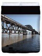 Amtrak Train Riding Atop The Benicia-martinez Train Bridge In California - 5d18830 Duvet Cover