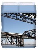 Amtrak Train Riding Atop The Benicia-martinez Train Bridge In California - 5d18835 Duvet Cover