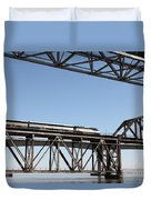 Amtrak Train Riding Atop The Benicia-martinez Train Bridge In California - 5d18837 Duvet Cover