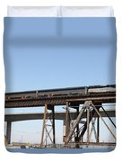 Amtrak Train Riding Atop The Benicia-martinez Train Bridge In California - 5d18839 Duvet Cover