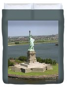 An Aerial View Of The Statue Of Liberty Duvet Cover