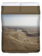 An Aerial View Of The Wadi Over Kunduz Duvet Cover