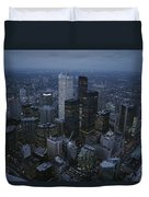 An Aerial View Of Toronto At Dusk Duvet Cover