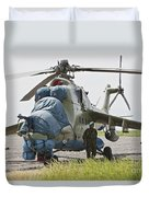 An Afghan Army Soldier Guards A Mi-35 Duvet Cover