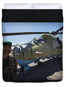An Afghan Army Soldier Guards An Mi-35 Duvet Cover