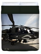 An Ah-64d Apache Helicopter Parked Duvet Cover