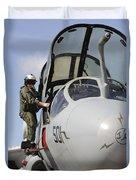 An Airman Makes A Final Look Over An Duvet Cover