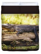 An American Alligator On A Log Duvet Cover