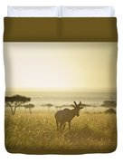 An Antelope Walks In The Grassland At Duvet Cover