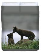 An Arctic Fox And Her Kit.  The Foxes Duvet Cover