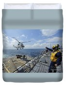 An As-332 Super Puma Helicopter Duvet Cover