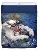 An Astronaut Is Submerged In The Water Duvet Cover by Stocktrek Images
