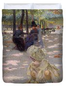 An August Afternoon At The Luxembourg Duvet Cover by Henri-edmond Cross