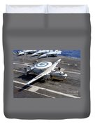 An E-2c Hawkeye Lands On The Flight Duvet Cover by Stocktrek Images