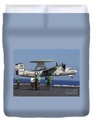 An  E-2c Hawkeye Launches From Aboard Duvet Cover by Stocktrek Images