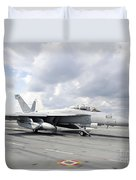 An Ea-18g Growler Takes Off From Uss Duvet Cover