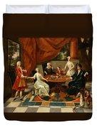 An Elegant Family Taking Tea  Duvet Cover by Gavin Hamilton