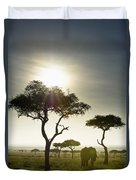 An Elephant Walks Among The Trees Kenya Duvet Cover