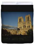 An Exterior View Of Notre Dame Duvet Cover