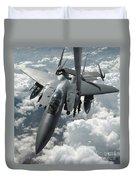An F-15 E Strike Eagle Receives Fuel Duvet Cover by Stocktrek Images