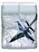 An F-16 Aggressor Sits In Contact Duvet Cover