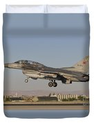 An  F-16b Of The Turkish Air Force Duvet Cover