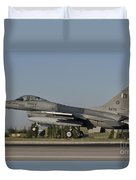 An  F-16c Of The Pakistan Air Force Duvet Cover