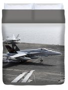 An Fa-18a+ Hornet Lands Aboard Duvet Cover