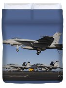 An Fa-18e Super Hornet Comes In For An Duvet Cover