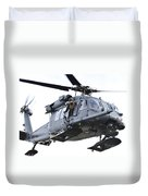 An Hh-60g Pavehawk Helicopter In Flight Duvet Cover