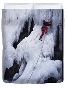 An Ice Climber On Habeggers Falls Duvet Cover