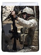 An Infantryman Talks To His Marines Duvet Cover