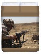 An Iraqi Army Soldier Prepares To Fire Duvet Cover