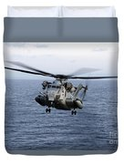 An Mh-53e Sea Dragon In Flight Duvet Cover