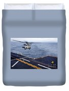 An Mh-53e Sea Dragon Prepares To Land Duvet Cover
